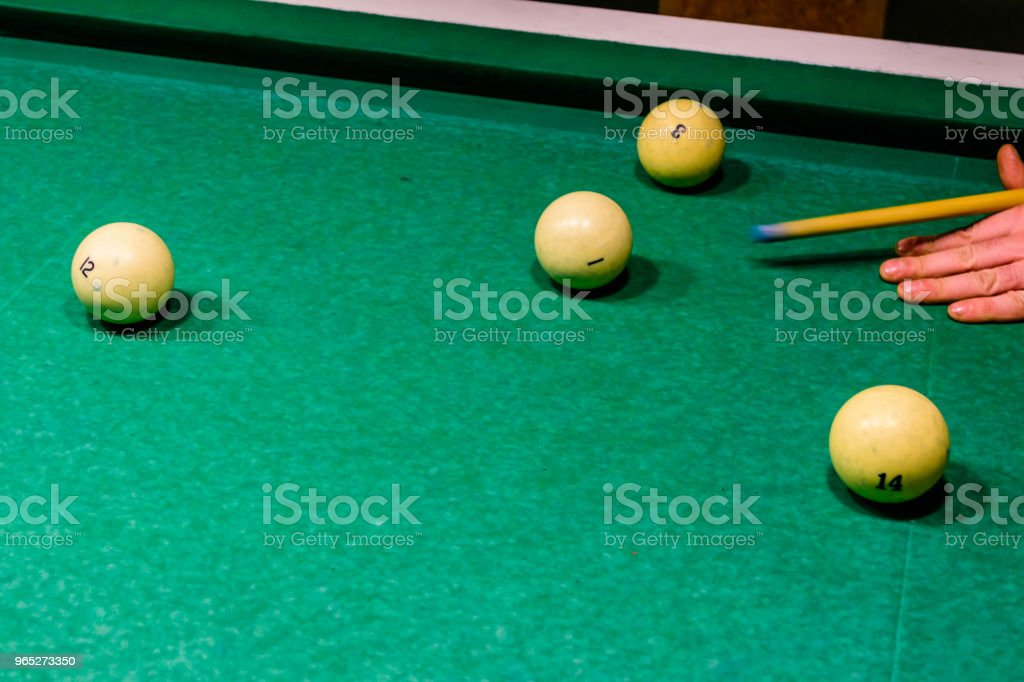 Player arm with the cue and balls on the green cloth. Russian billiard royalty-free stock photo