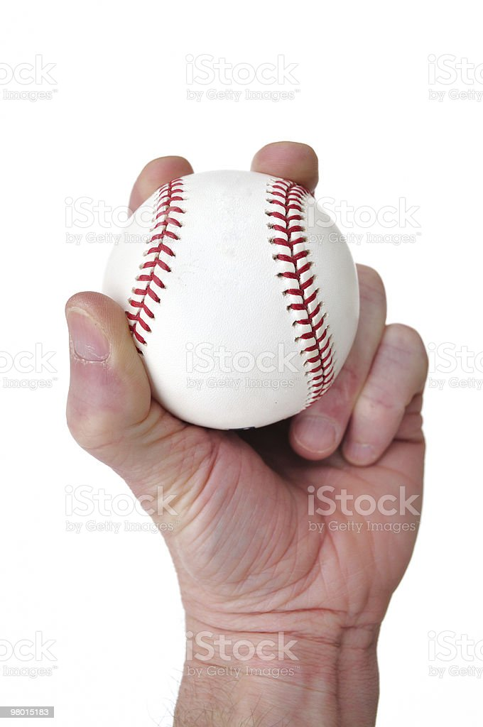 Player Gripping a New Baseball royalty-free stock photo