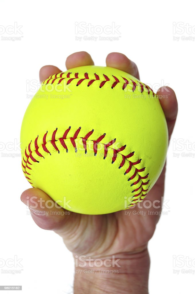 Giocatore di Softball di presa giallo foto stock royalty-free