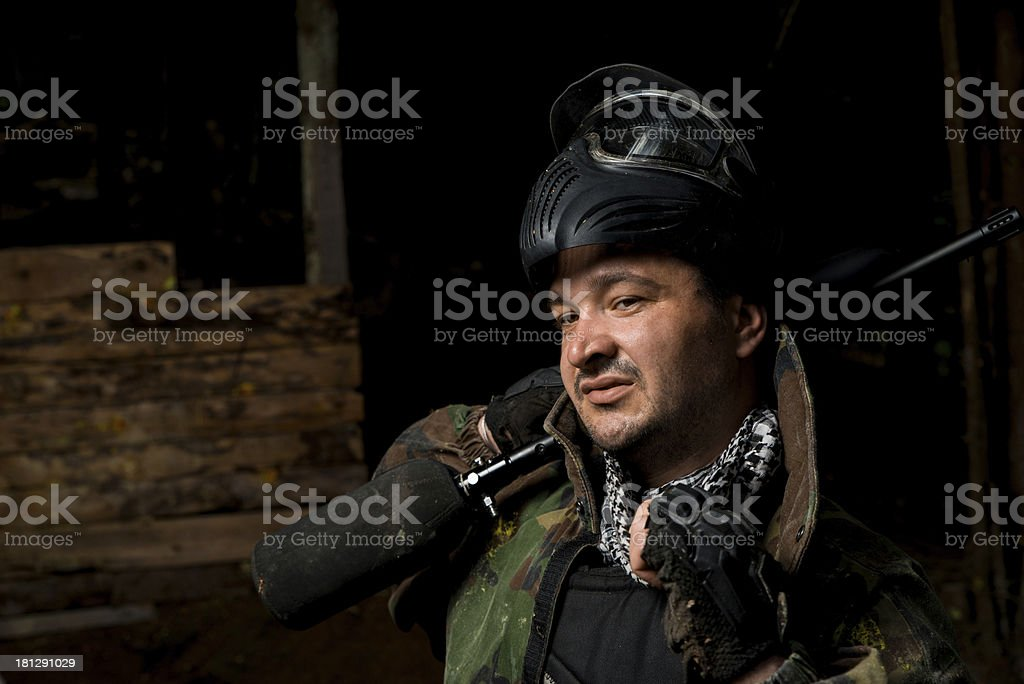 Player in paintball prepare for fight stock photo