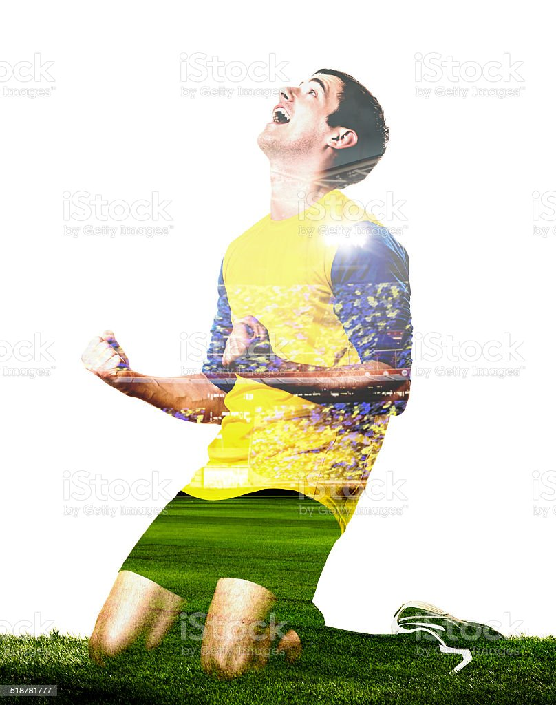 player is celebrating goal stock photo