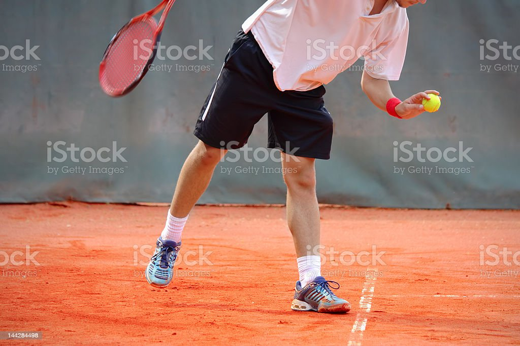 Player preparing for service stock photo