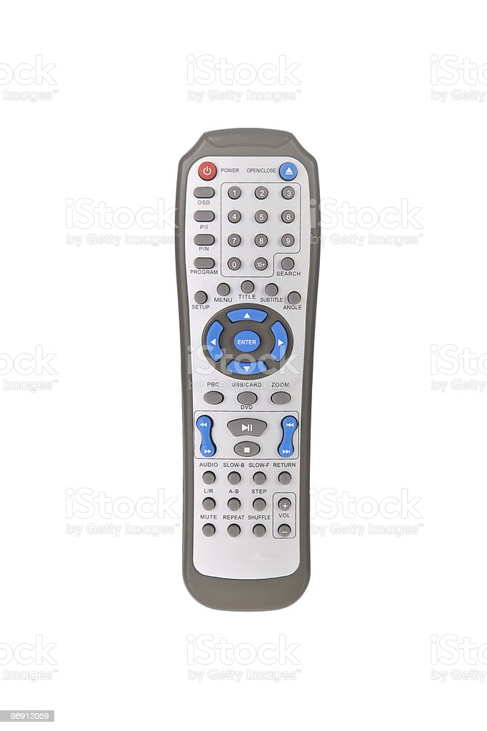 DVD player remote control isolated on white royalty-free stock photo