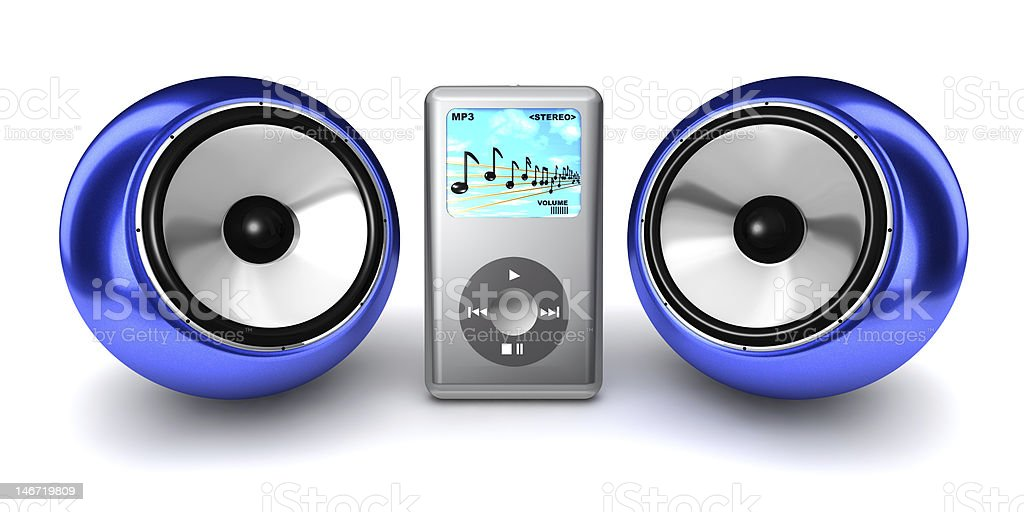 MP3 Player with ball speakers stock photo