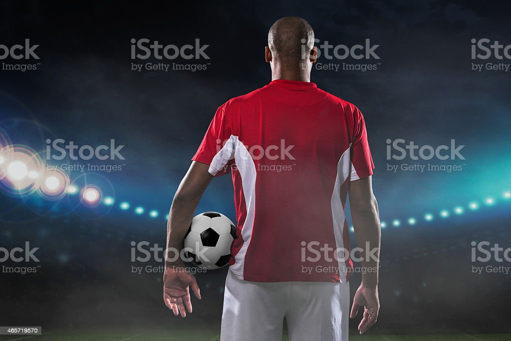 Player with soccer ball stock photo