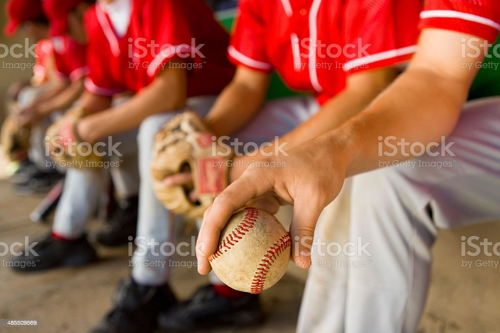 Players in Dugout stock photo