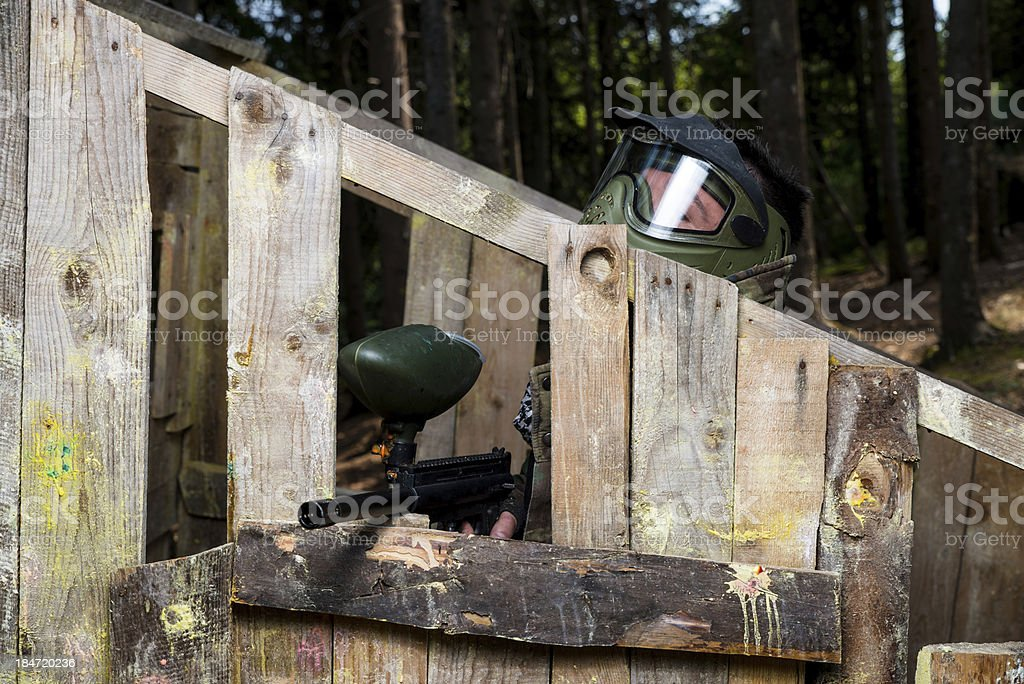 Players in paintball stock photo