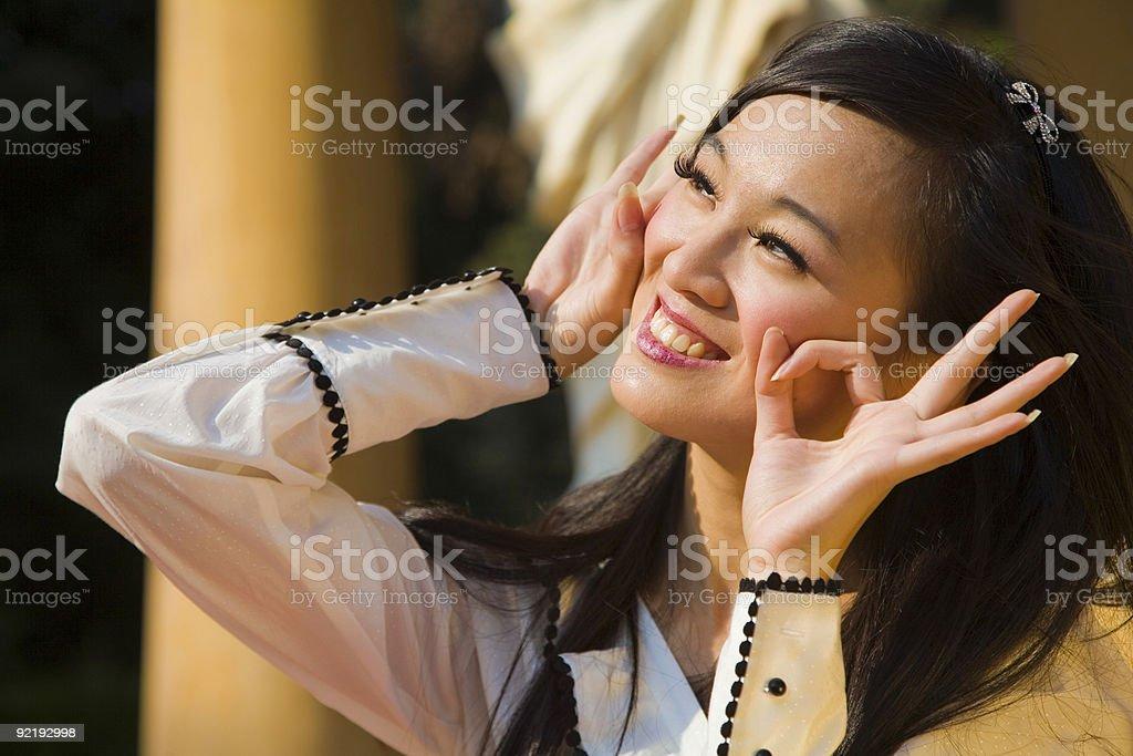 Playful asian woman. stock photo