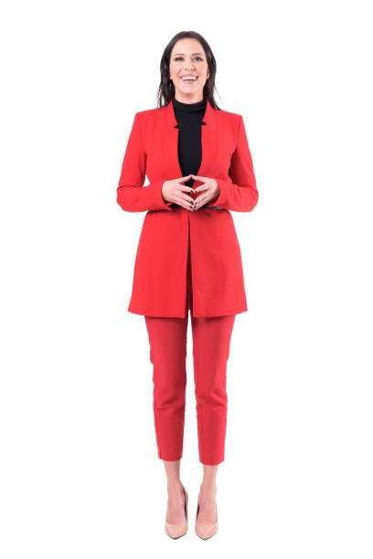 Playful business woman in formal posture laughing at camera. Playful business woman in formal posture laughing at camera. Full body isolated on white background. businesswear stock pictures, royalty-free photos & images