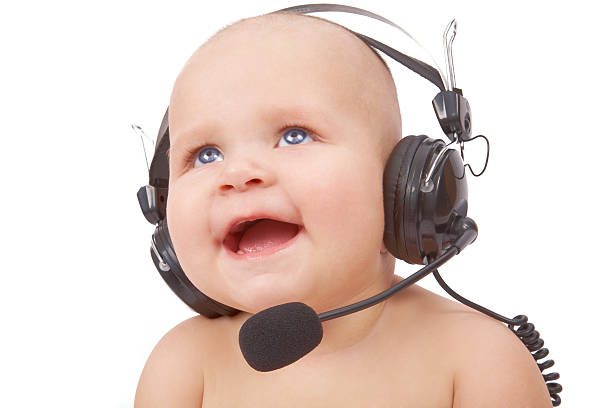 Lustige call-center-Mitarbeiter – Foto