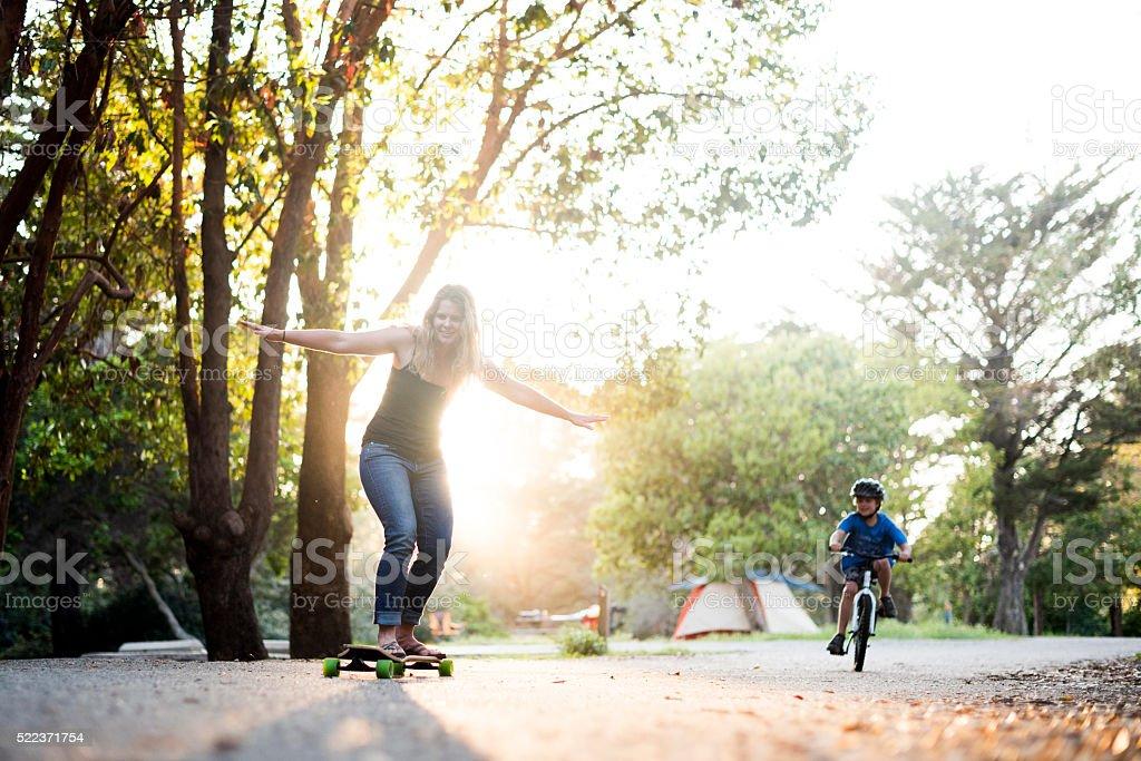 playful camping stock photo