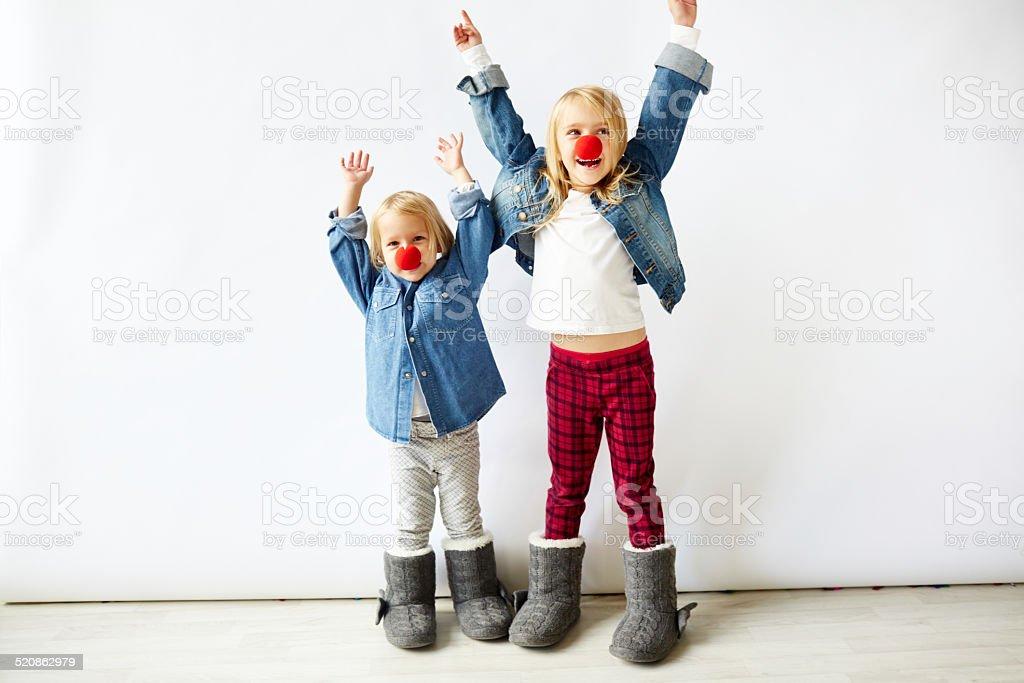 playful clowns stock photo