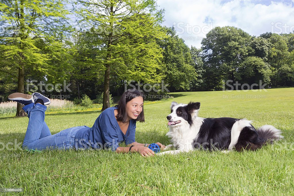Playful dog and woman royalty-free stock photo