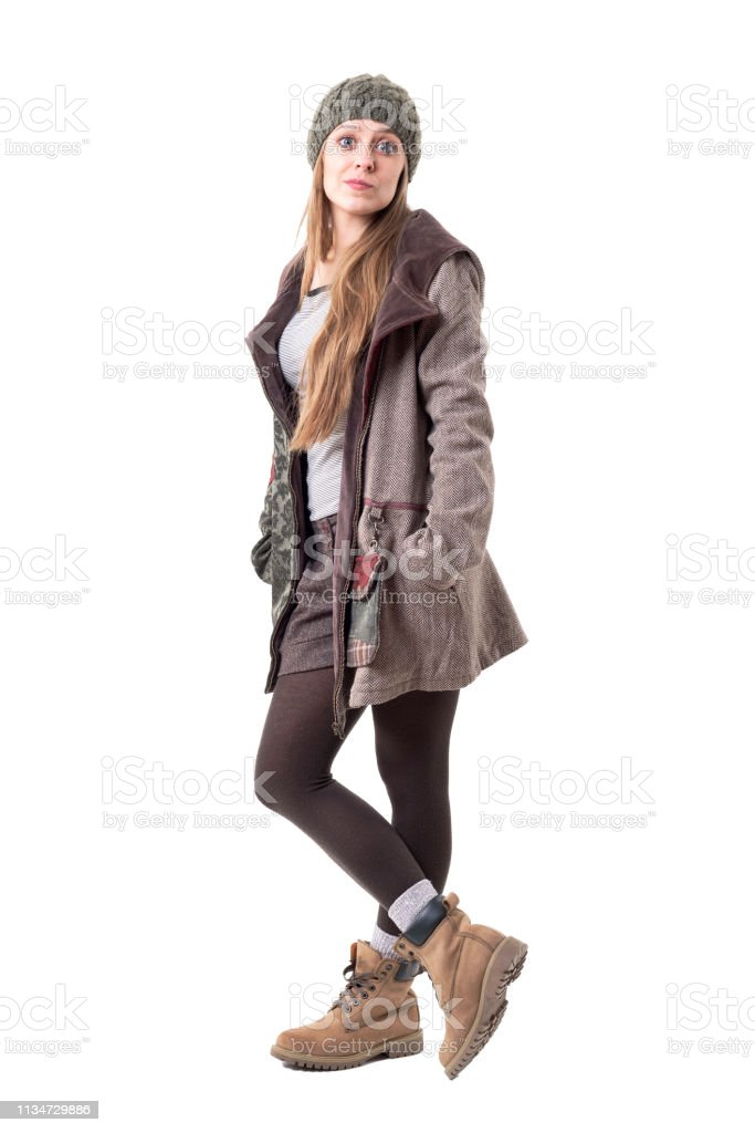 Playful Expressive Cute Hipster Woman In Winter Season