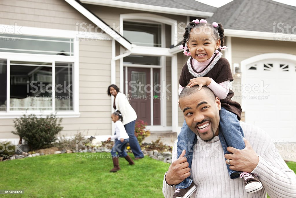 Playful Family of Four at Home royalty-free stock photo