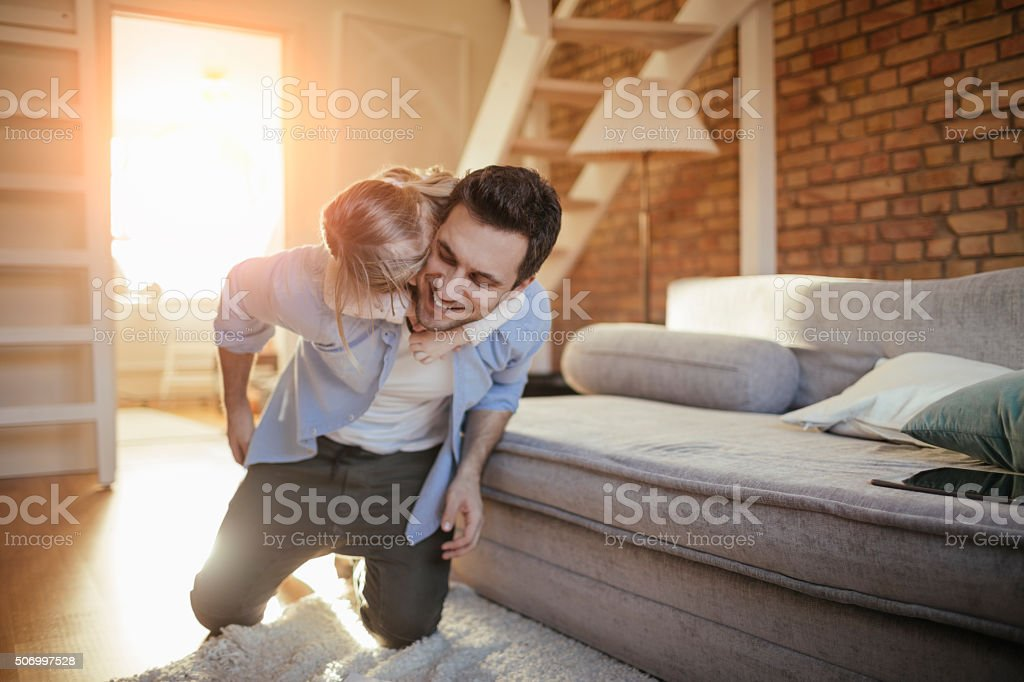 Playful father stock photo