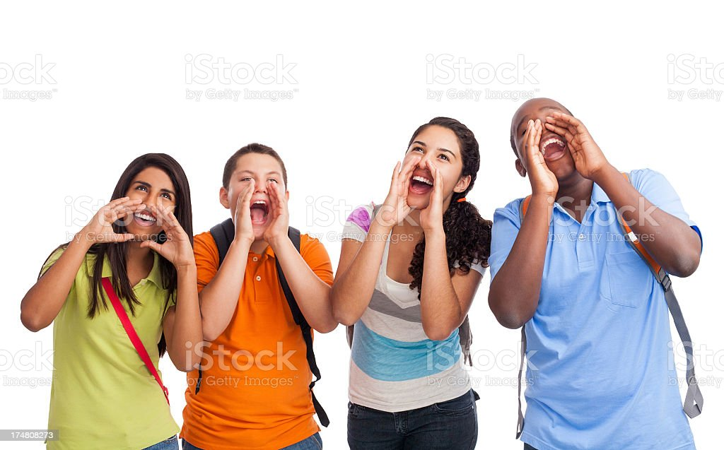 Playful friends screaming royalty-free stock photo