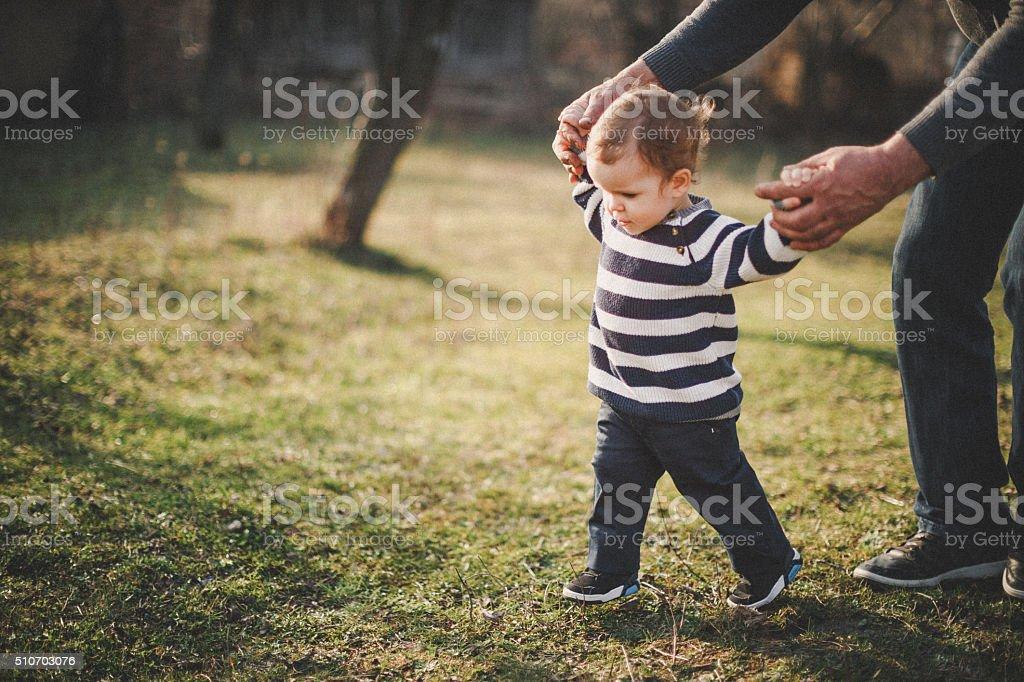 Playful grandfather stock photo