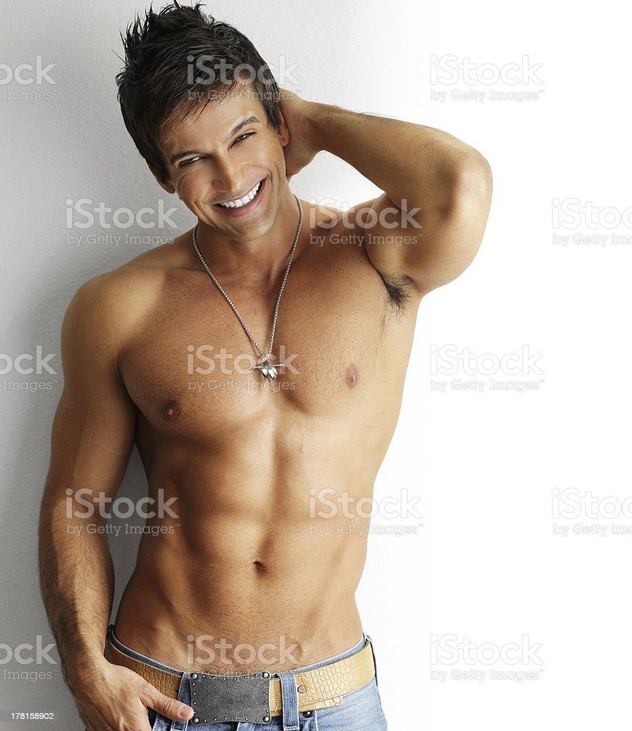 Playful hot man stock photo