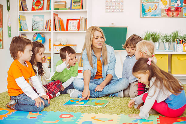 playful learning - preschool building stock photos and pictures