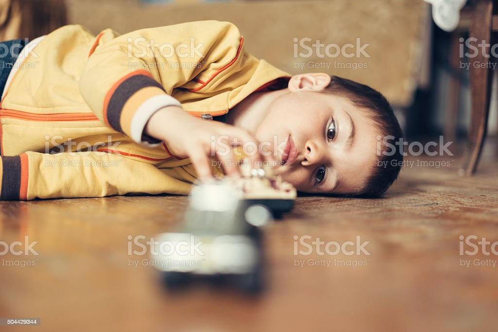 Playful little boy stock photo