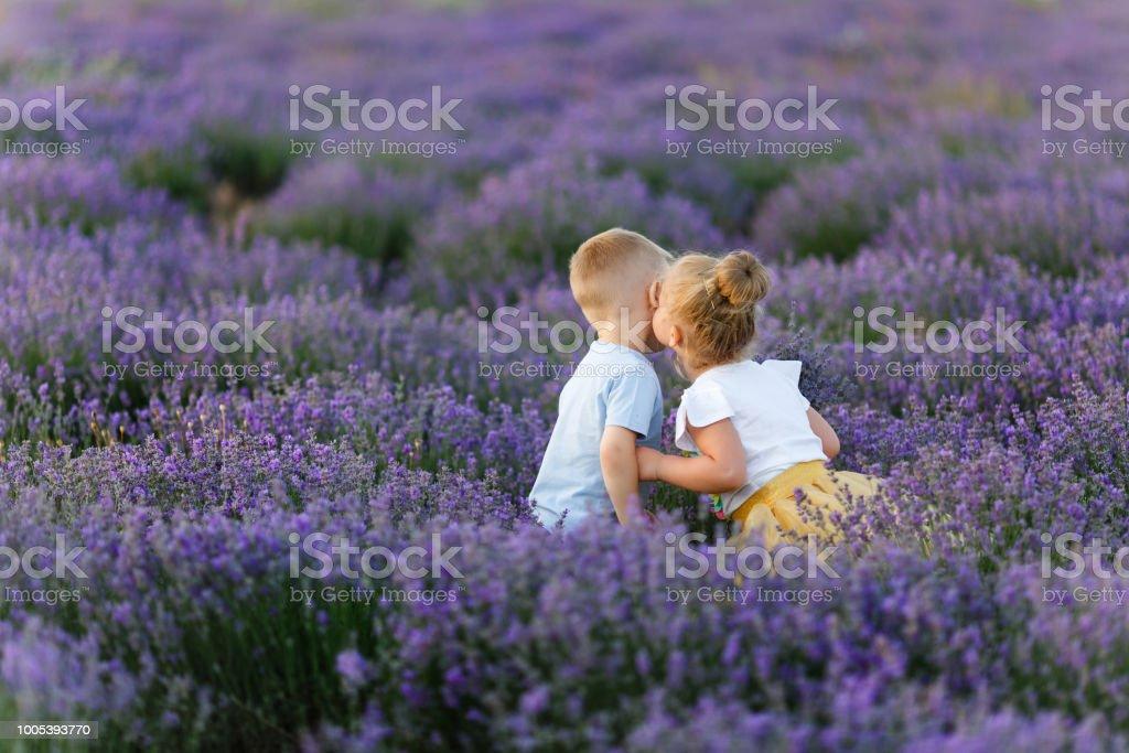 Playful Little Cute Couple Boy Girl Walk On Purple Lavender Flower