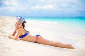 Playful Little Girl Enjoying On Maldivies Bech