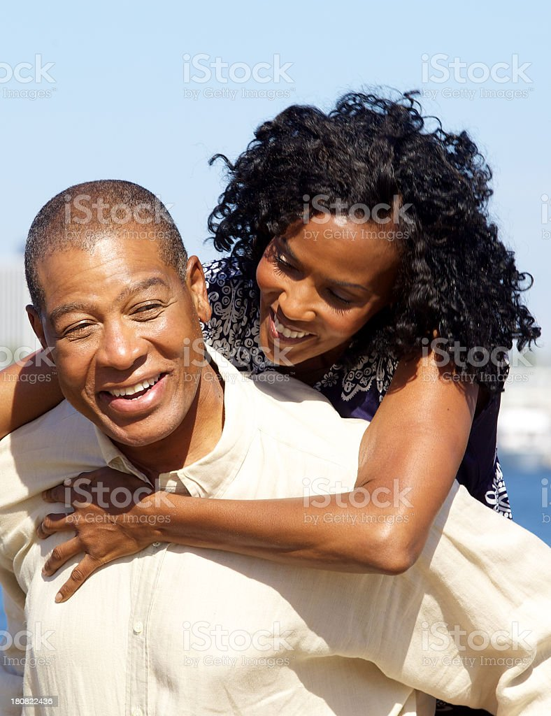 Playful Mature African American Couple Outdoors royalty-free stock photo