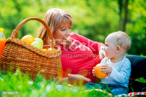 istock Playful mother having fun with her baby in nature 531560270