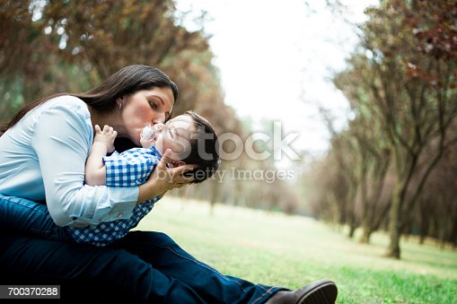 811227514 istock photo Playful mother holding and kissing boy on cheek 700370288