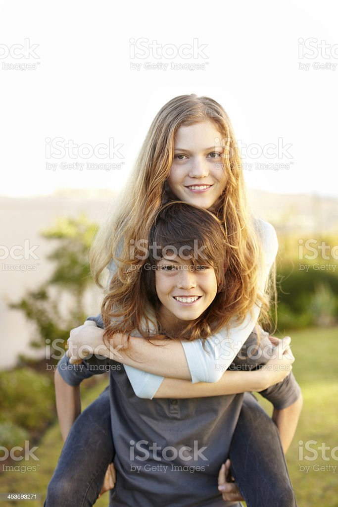 Playful siblings stock photo