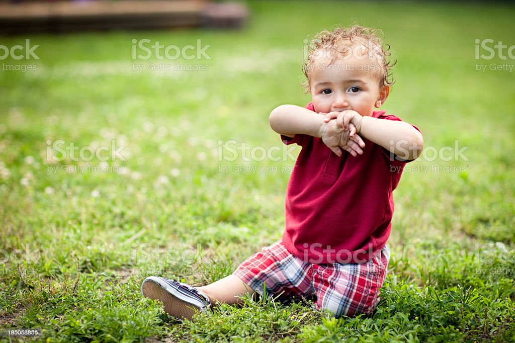 Playful, Toddler Boy Sitting in Grass Outside on Summer Day stock photo