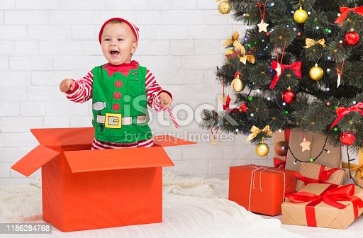 Christmas Elf baby isolated on a white background