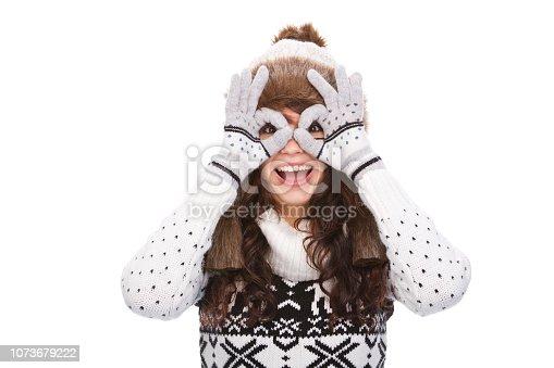 istock Playful winter woman 1073679222