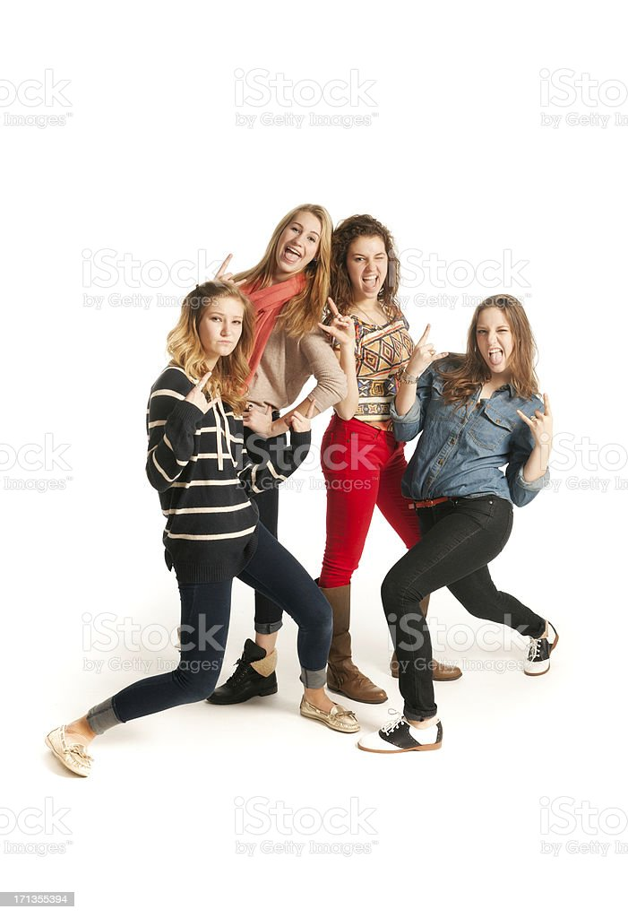 Playful Young Models Posing on White Background Vt stock photo