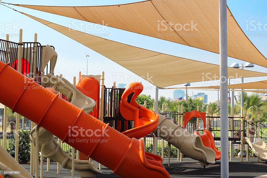 playground and awnings stock photo