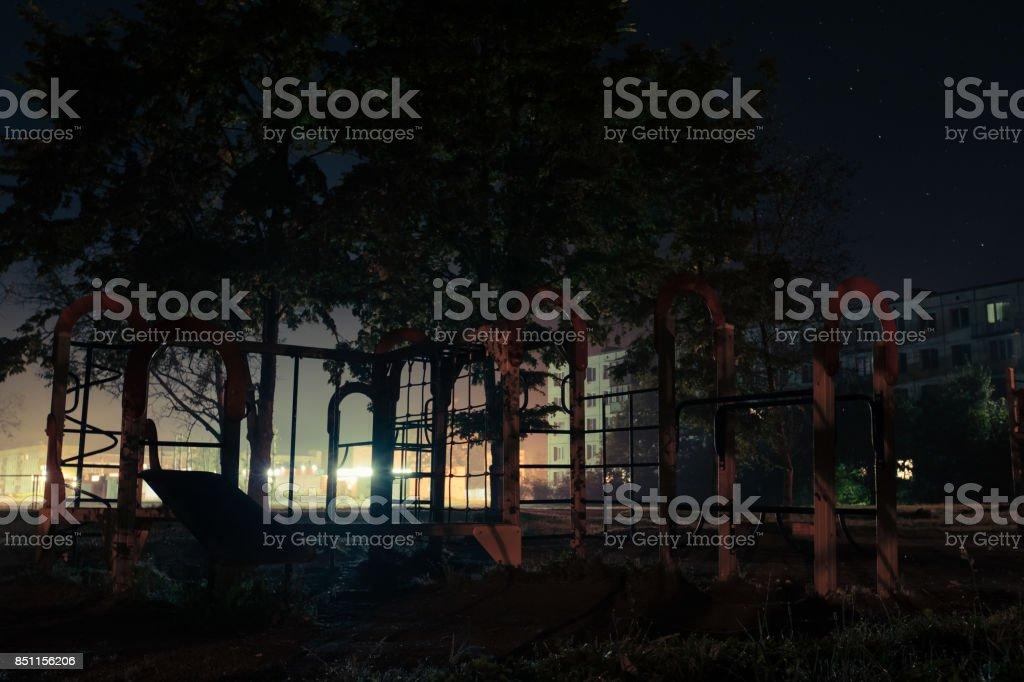 playground at night stock photo