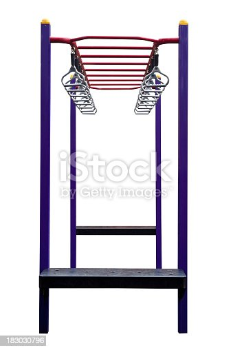 Playground equipment Monkey bars isolated on white background with clipping path vertical composition