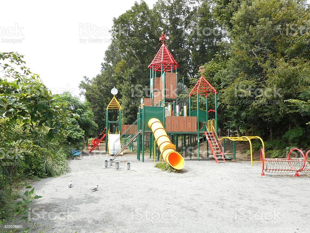 Playground equipment of the park stock photo