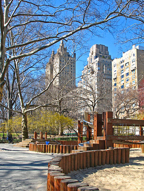 Playground in Central Park, Manhattan, NYC stock photo