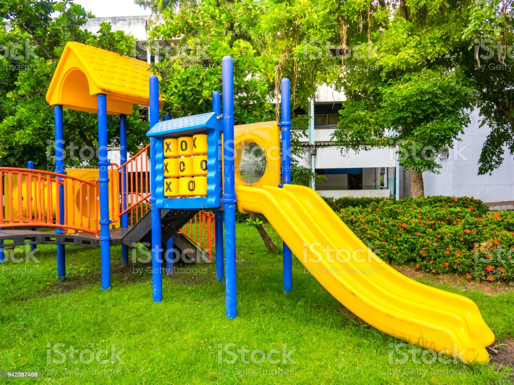 Playground in park for children playing stock photo
