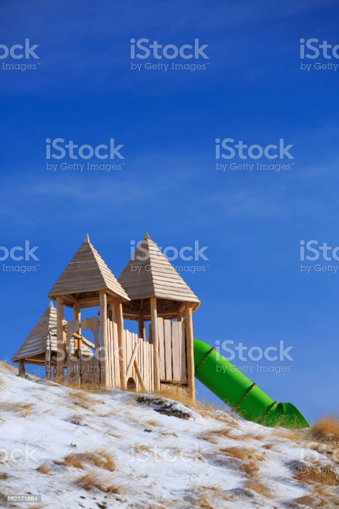 Playground in ski resort Dolomites in European Alps stock photo