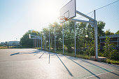 colorful outdoor rubber basketball playground aerial view