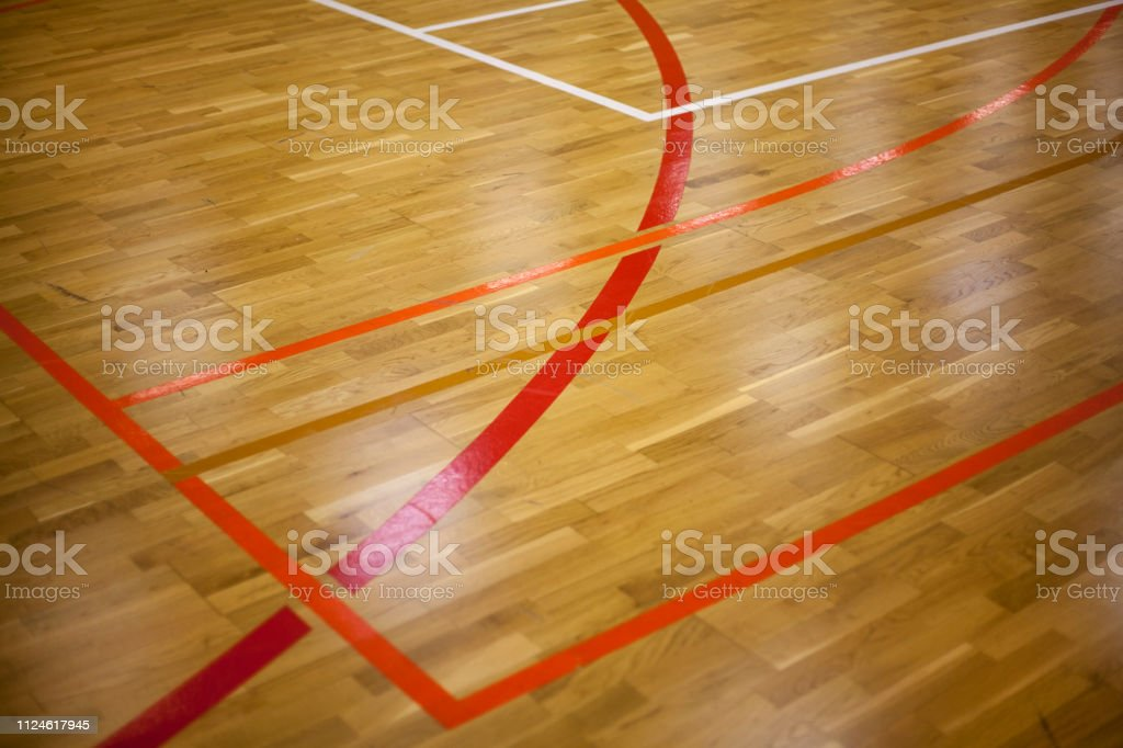 Playground layout, Wooden floor of sports hall with marking lines