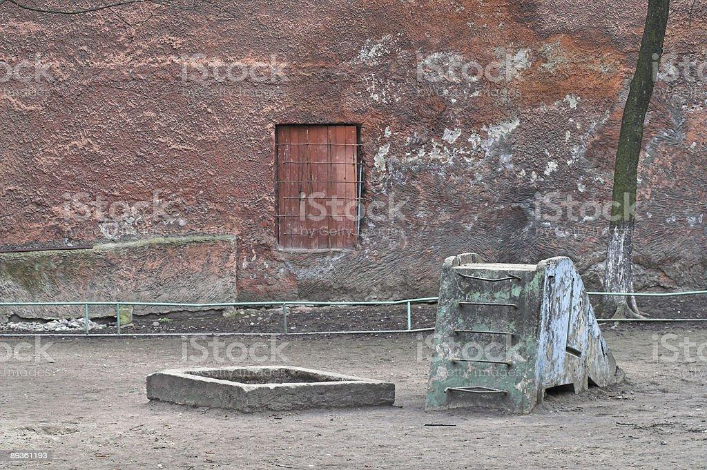 Playground near old city house stock photo