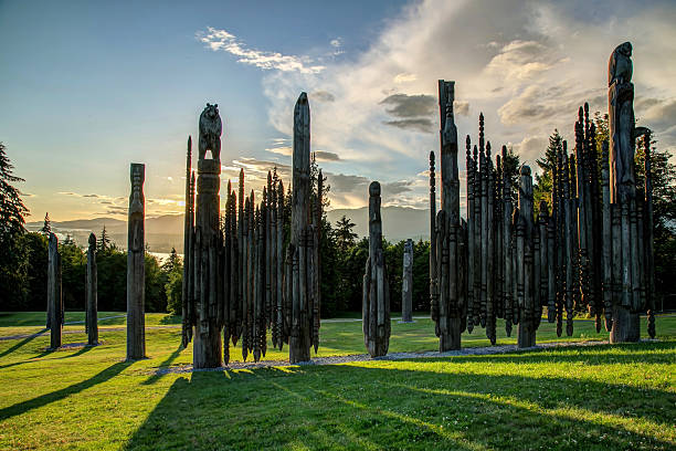 """playground of the gods"" on burnaby mountain at sunset - bärenpark stock-fotos und bilder"