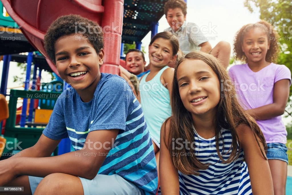 Playground pals stock photo