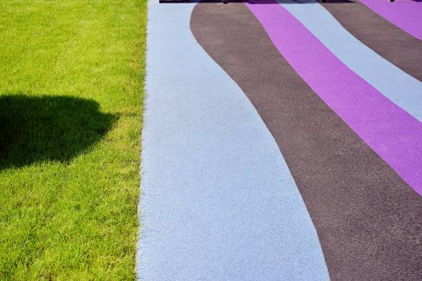 Playground rubber flooring. Colorful landscape. stock photo