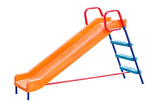 Playground slide of plastic stock photo