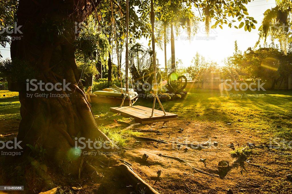 Playground swing stock photo